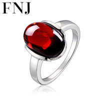New Fine S925 Solid Thai Silver Luxury Ruby Red Stone Ring 100 Pure 925 Sterling Silver