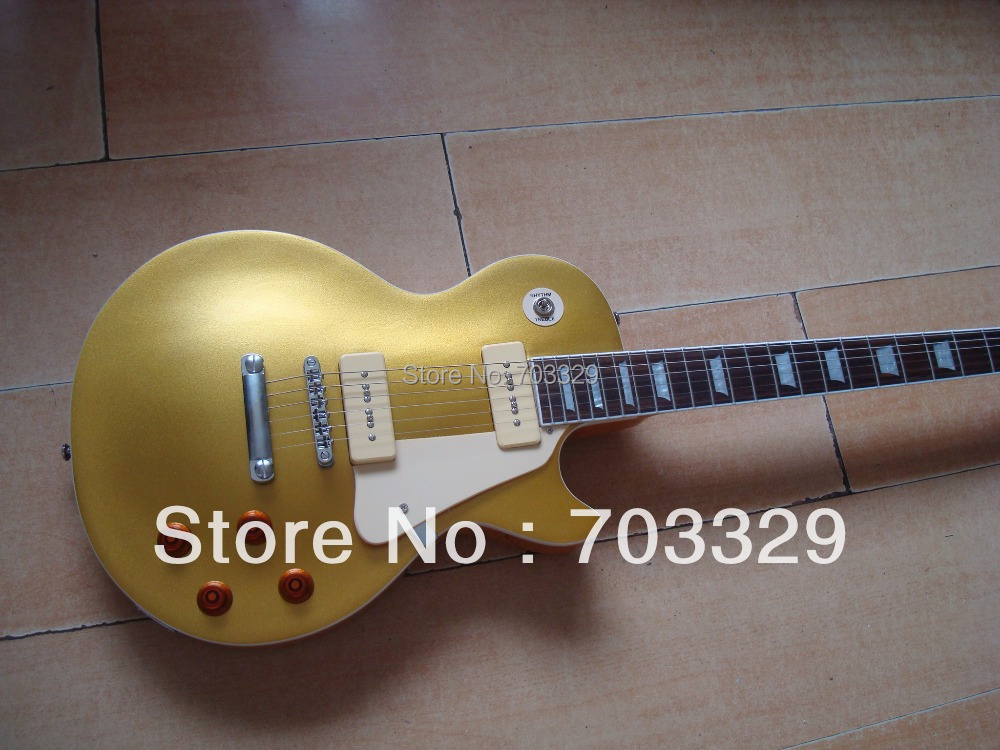 new LP standard gold top Guitar goldtop free shipping golden top Guitars p90 pickups mohogany one piece neck good quality power new arrival cnbald standard electric guitar goldtop humbucker pickups in gold back deep red 111018