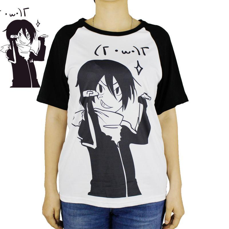 Anime Tops Tee Casaul Noragami T-shirt Japan Cool Clothes Patchwork Shirt