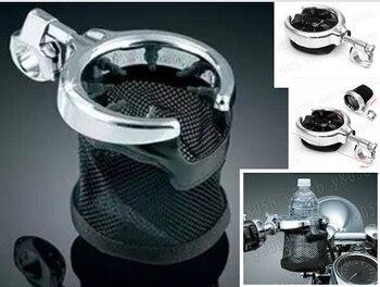 Universal Motorcycle Handlebar Cup Holder Chrome Metal Drink For Yamaha VStar 400 650 1100 1300 Virago Xv 250 535 750 1100 Мотоцикл