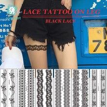 Rocooart New Trendy black temporary arabic tattoo lace on leg henna tattos sticker Leg chain fake Sex Tattoo