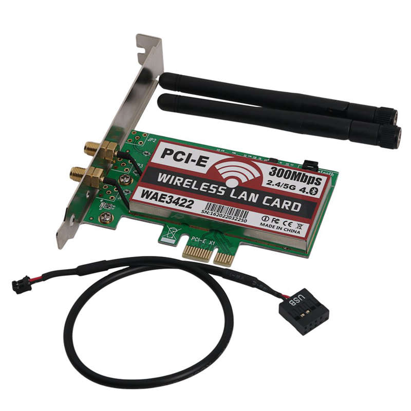 Network Card, Bluetooth 4.0 Dual-Band 2G/5G 300Mbps Pci-E Pci Express Wae3422 Network Card Wlan Wifi Adapter