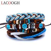 Lacoogh New Fashion Blue Wood Beads Кожа PU Многослойные браслеты Мужская ручная веревка Wrap Retro Charms Браслеты для мужчин Женщины