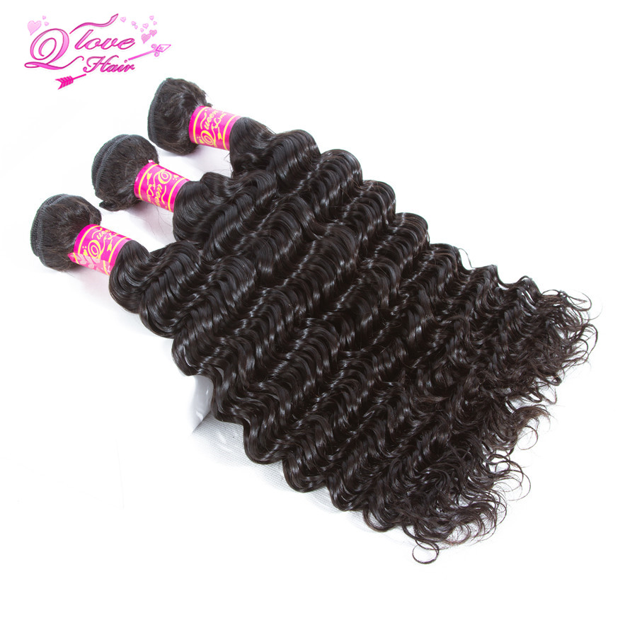 Queen Love Hair Deep Wave Peruvian Hair Weave Bundles 100% Remy Human Hair Extensions Natural Color 3 Bundles