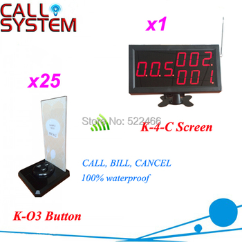 Guest Paging System for restaurant service with 25 wireless call button and 1 number screen