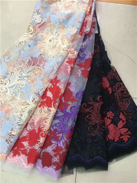 2017 Latest Nigerian Laces Fabrics High Quality African 3 D Flower Net Fabric Wedding