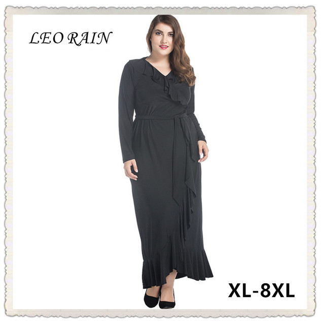 2017 Muslim Plus Size Party Black Fall Dress Maxi Woman Clothes