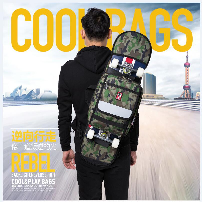 Street Skateboard Backpack Single-Shoulder Double Rocker Carrying Bag 900D Nylon Oxford Knapsack Suits For 21x90cm Decks