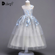 Boutique Long Princess Dress 5-16 Years Girl Party Dress First Communion Party Decorations Elegant Flower Girl Wedding Dress