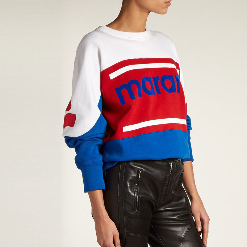 2018 Woman Gallian logo SWEATSHIRT red and blue panels Cotton Pullovers Letters detail