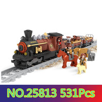Model building kits compatible with lego train traffic rails 3D blocks Educational model building toys hobbies for children