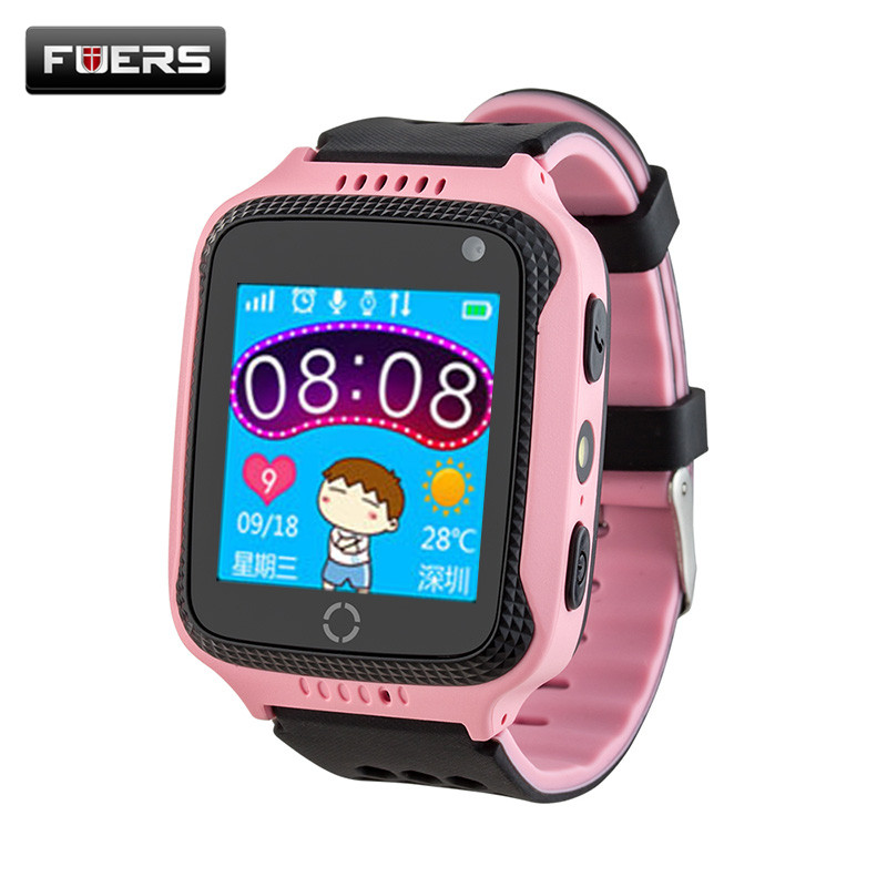 Fuers Portable GPS Tracker Anti-Lost Alarm Touch Screen Kids GPS Watch Phone with Camera flashlight Russian Menu Location SOS
