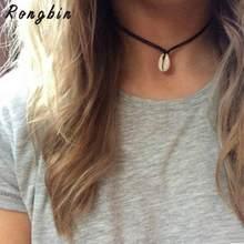 7cc20736c157 2017 Nuevo collar gargantilla terciopelo negro conchas blancas para mujeres  Lucky Maxi Chokers collar Chocker collar