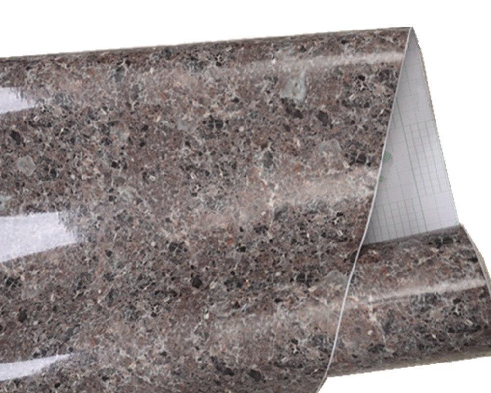 30*200 cm Brown Graniet Marmer Glans Zelfklevende meubilair Vinyl Decor Film Teller Keuken Home Decals Muur Stickers12'' * 79''