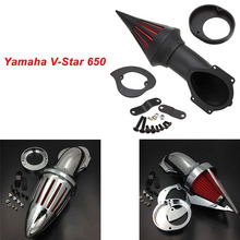 купить For Yamaha V-Star VSTAR V Star 650 (All Years) Motorcycle Air Cleaner Kit Intake Filter Black Chrome дешево