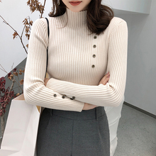 shintimes Button Long Sleeve Women Sweater Knitted Turtleneck High Elastic Solid 2019 Winter Fashion Pullovers