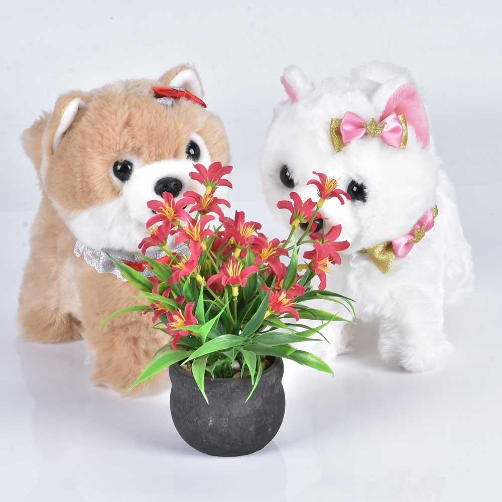 Купить с кэшбэком Electronic Dog Robot Teddy Interactive Dog Toys Electronic Plush Animal Pet Toy Walk Bark Leash Teddy Toys For Children