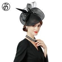 FS Elegante Nero Da Sposa Cappelli E Fascinators Per Le Donne Da Cocktail  Della Piuma Tesa 6967131950ec