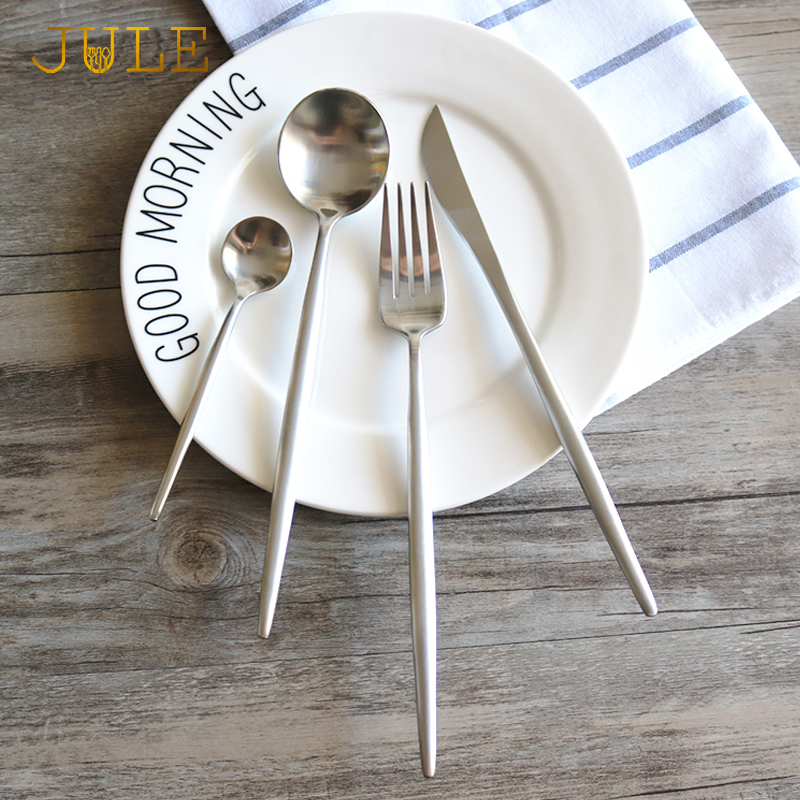 Set Cutlery Perak 304 Pinggan Keluli tahan karat 4-pcs Western Classic Pisau Fork Meja Makan Makan Makan Set Perkhidmatan 1person