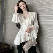Long Sleeve Shiny Ruffles Shirts Women Casual Loose High Waist Satin Blouses Lady Top Shirt Tops
