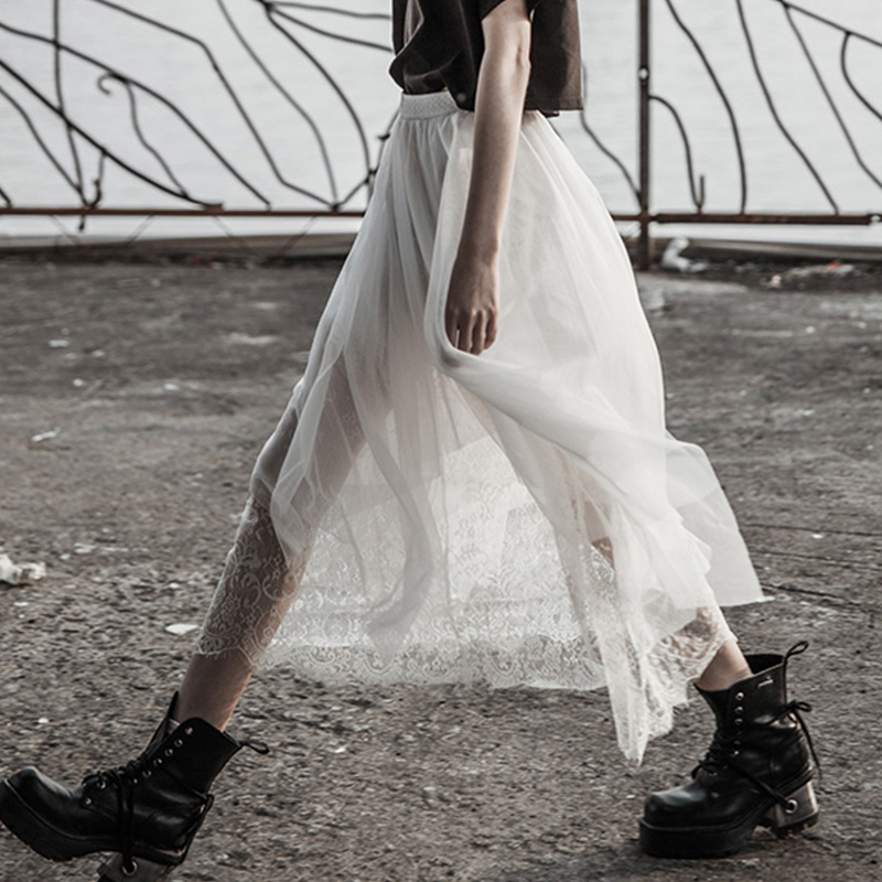 Sexy Verano Elegante Blanco De Punk Moda Mujeres Club Rave Fiesta Encaje Sólido Hueco Faldas Ocasionales Falda BPvIq