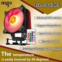 Aigo патриот Мороженое K4 вентилятор Лед Свет версия rgb Процессор вентилятор AMD 775 1155 Desktop 4 медные трубы вентилятора