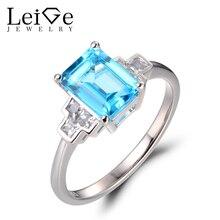 Leige Jewelry Wedding Rings Real Swiss Blue Topaz Rings 925 Sterling Silver Emerald Cut Gemstone font