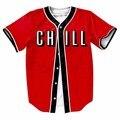 MTS129 Red Mens Buttons Homme Baseball Jersey 3D Shirt  Streetwear Tees Shirts Hip Hop