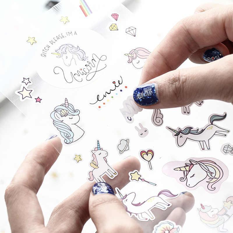 3 أنماط الملونة يونيكورن الأطفال الطفل الخيال ديكور الكرتون PVC لطيف ملصقات لسكرابوكينغ صور ملصقات ديكور لتزيين الغرف ألبوم