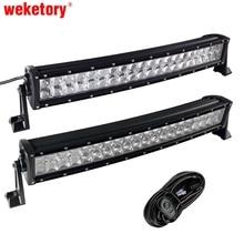Weketory 4D 5D 22 дюймов 200 Вт Изогнутые Led свет работы Бар Для Трактор Лодка Offroad 4WD 4×4 грузовик внедорожник ATV с выключателем проводки 12 В 24 В