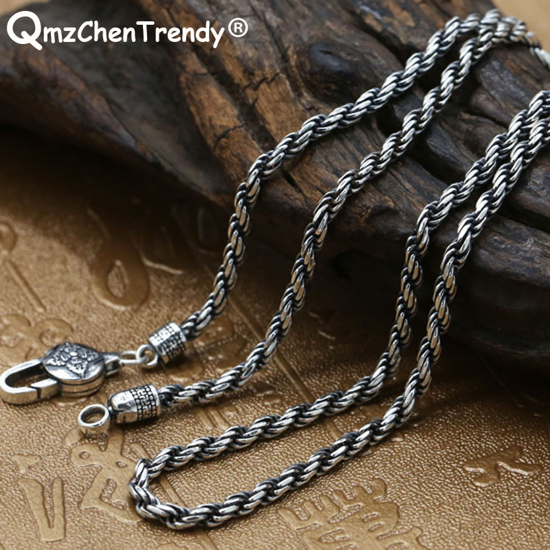 3mm 100% S925 Sterling Silver Retro Men Women Buddhist Rope Necklace Thai Silver Punk Choker Sutra Rope Chain Hip hop Jewelry 925 sterling silver women lapis beads yellow chalcedony peacock pendant necklace rope chain thai silver choker jewelry ch057272