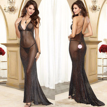 women sexy lingerie hot long dress backless sexy perspective sexy underwear deep v erotic lingerie lenceria sexy costumes 074