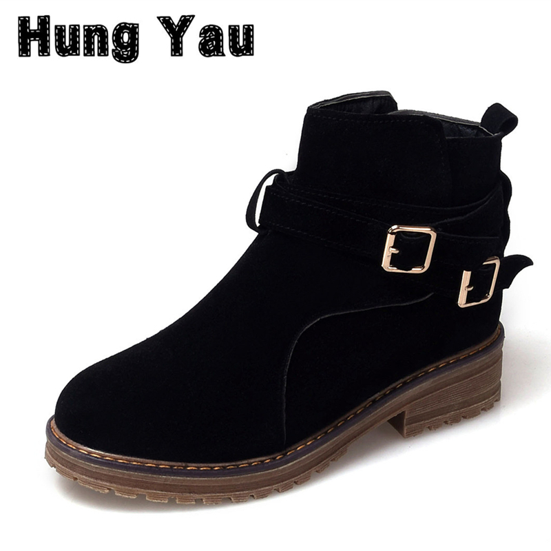 Hung Yau Autumn Boots For Women Winter Fashion Women Boots Thick Heel Platform Shoes Buckle Lady Ankle Black Boots Plus Size 12
