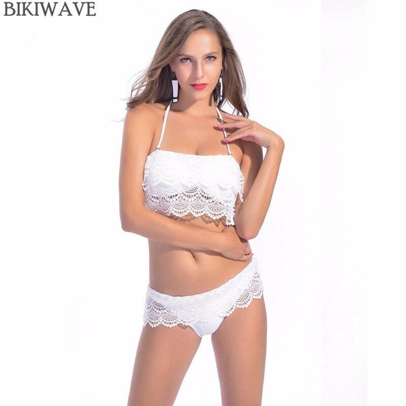 2018 Summer Women Sexy Lace Cover Up Swimwear White Bikini Lace Bandeau Swimsuit Push Up Crochet Bathing Suit Beach Wears
