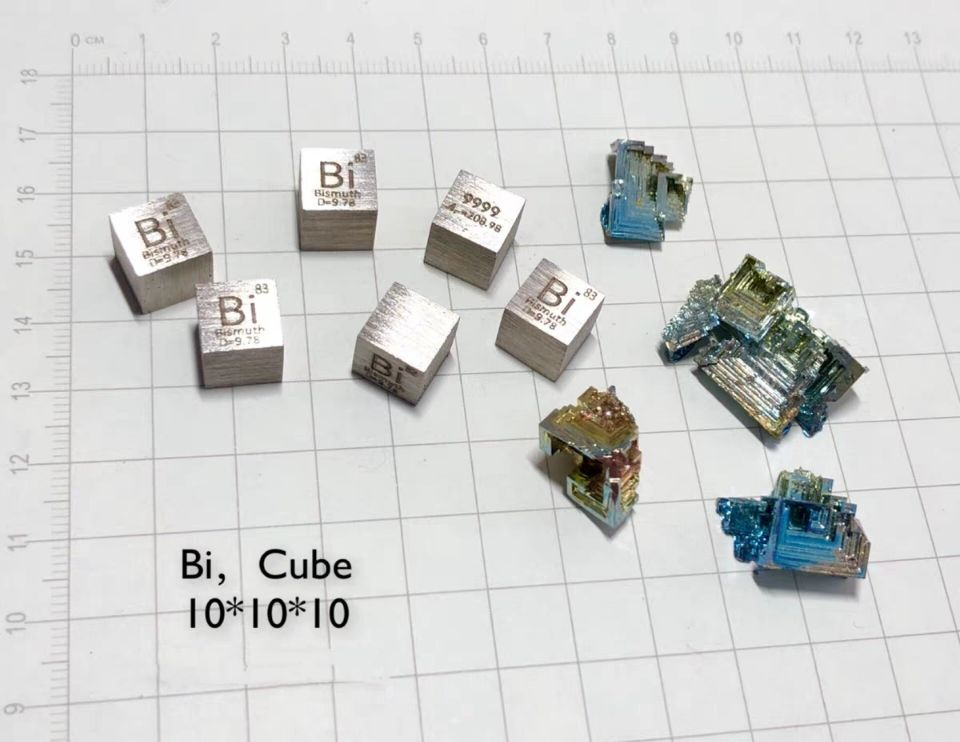 Bismuth Metal 10mm Density Cube 99.99% Pure for Element Collection цена