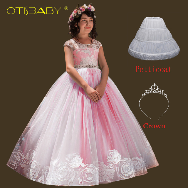 e49a326479af Floral Girls Backless Beautiful Dresses Age 12 13 14 Year Old Dresses  Children Elegant Graduation Ball Gowns Teen Fluffy Dress
