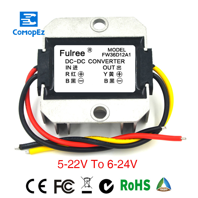 DC-DC 12V(5-22V) to 12V/24V(6-24V) Non-isolated Booster Converter 3A