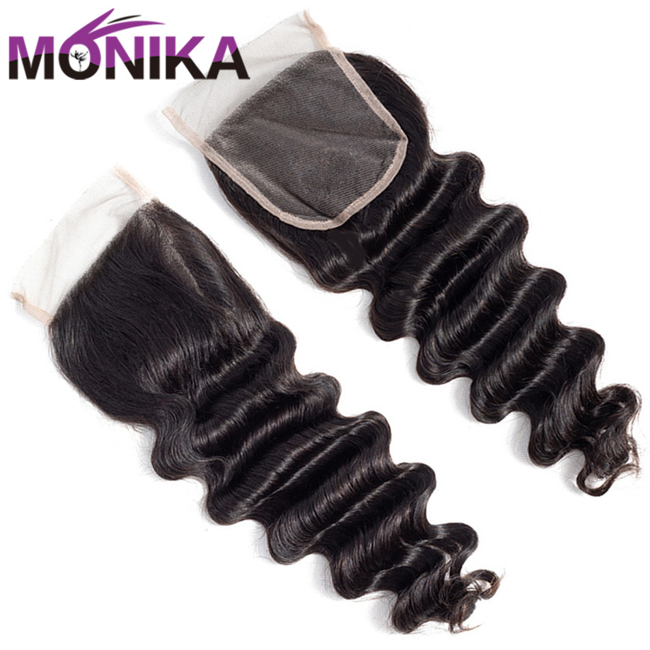 Monika Lace Closure Human-Hair Deep-Wave Swiss Loose Peruvian 4x4 130%Density