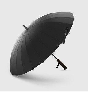 Image 3 - 뜨거운 판매 브랜드 비 우산 남자 품질 24K 강한 Windproof Glassfiber 프레임 나무 긴 손잡이 우산 여성 Parapluie