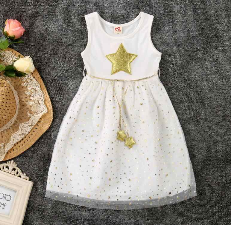 b4066ebb2aeab White Black Summer Kids Girl Dresses Gold Star Baby Clothes Casual Cute  Lovely Cotton Voile Party Children Tutu Dress for Girls