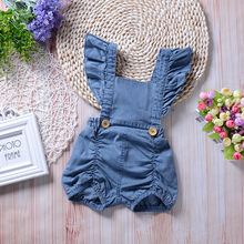Newborn Baby Girl Romper Infant Denim Ruffles Jumpsuit Sunsuit Outfits Clothes toddler romper baby girl summer clothes(China)