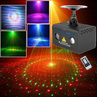 DJ Shop RGB LED Party Disco Light Red Green Home Laser Show System Projector 20 Patterns Sound Activated With Remote
