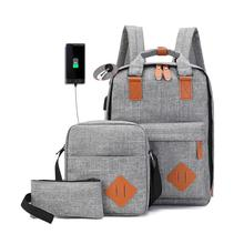 3 in 1 Oxford Casual Laptop Backpack School Usb Charge Colle