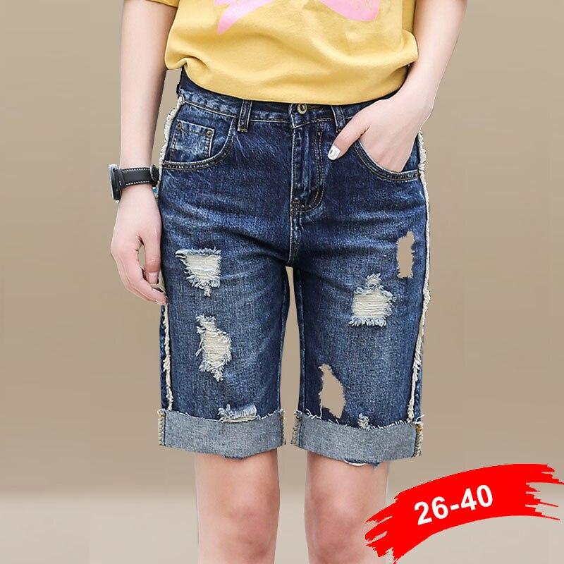 ФОТО Mid Waist Washed Denim Shorts Oversize Hot Denim Shorts For Women Plus Size Feminino Big Plus Size Xxxl 3Xl 36 38 40 4XL 5XL 6XL