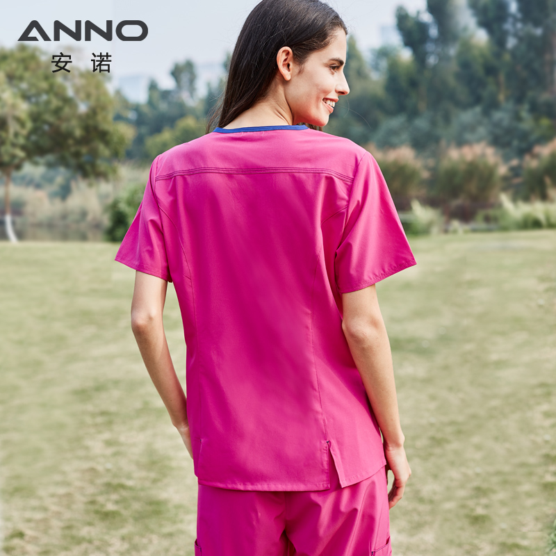 ANNO No stick hair Pet Hospital Uniforms Women Nurse Uniform Slim Fit Medical Scrubs Set Surgery Clothing Elastic Suit