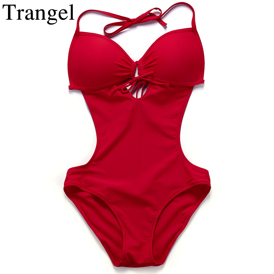 Trangel sexy One Piece Swimsuit Backless Swimwear Women Push Up swimsuit women solid monokini halter one piece bathing suit trendy solid color halter pleated one piece skirt swimwear for women