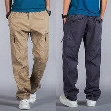 Большие размеры, повседневные мужские штаны для бега, летние свободные широкие брюки-карго, хлопковый комбинезон с эластичной резинкой на талии, шаровары tactica, брюки M-6XL