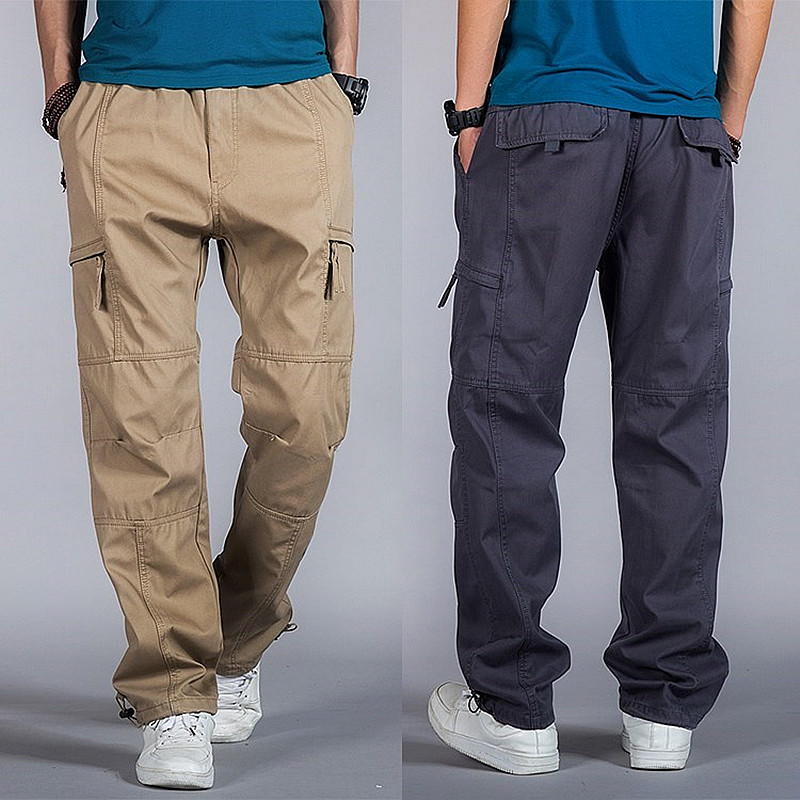 Big Size Casual Men Joggers Pants 2018 summer Loose Wide Cargo Pants Cotton Jumpsuit Elastic Waist Innrech Market.com