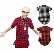 2017 Brand New Clothing Mens Checked Shirt Hip Hop plaid t shirt Zipper Hiphop Swag T-shirts Streetwear Mens Tyga male Tshirt