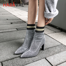 HARAVAL Winter Mixed Color Women Ankle Boots Handmade Flock Fashion Sexy Pointed Toe High Heel Shoes Elegant Classic Boot B189 цены онлайн